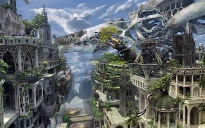 Fantasy Desktop Wallpapers Overgrown Future Background Cities