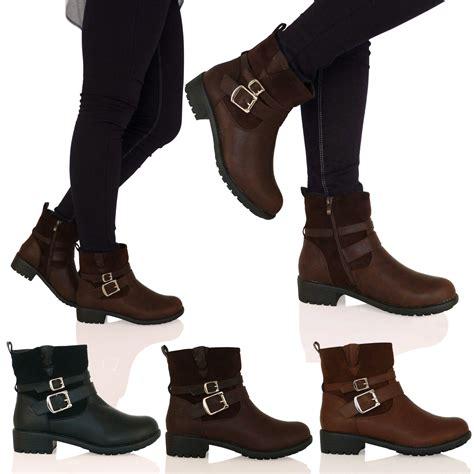 D7f New Womens Flat Biker Ankle Boots Low Cut Buckle Zip