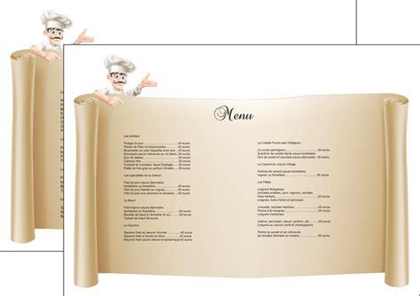 tablier cuisine set de table modèle et exemple menu restaurant