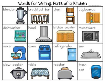 parts   kitchen word list writing center