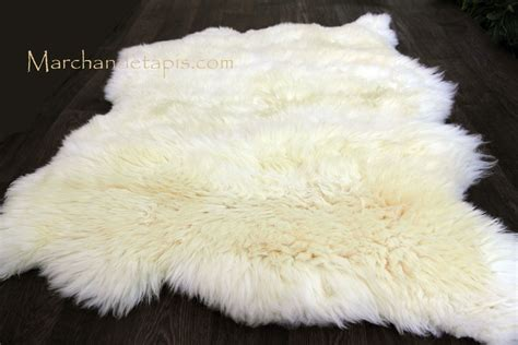 tapis peau de mouton  peaux blanc naturel origine uk