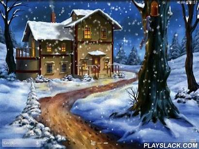 Night Snow Winter Playslack Android Wallpapers Schneefall