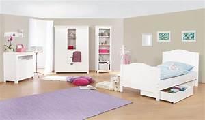 Chambre Enfant Blanc : chambre d 39 enfant nina avec commode simple en massif lasur e blanc ~ Teatrodelosmanantiales.com Idées de Décoration