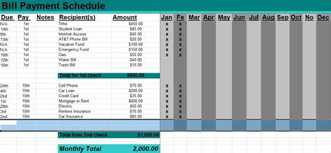 bill payment schedule template  word excel tmp