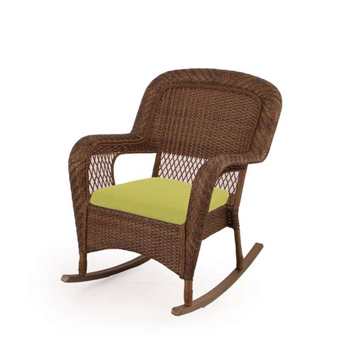 chaise en osier msl charlottetown patio rocking chair in brown with green