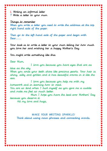 letter writing activity  mothers day ks students