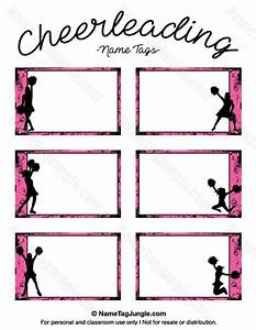 Free printable cheerleading name tags each name tag features a pink grunge border with for Cheerleading templates printable