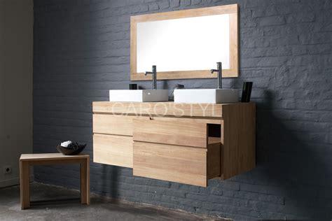 salle de bain avec vasque en meuble de salle de bains suspendu en teck avec vasque 224 poser carrelage et salle de bain la