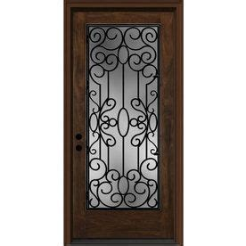 wrought iron clear caramel inswing fiberglass entry door
