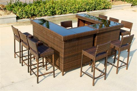 Outdoor Bar Furniture by Large U Shape Bar In Mixed Brown Rattan With Stools