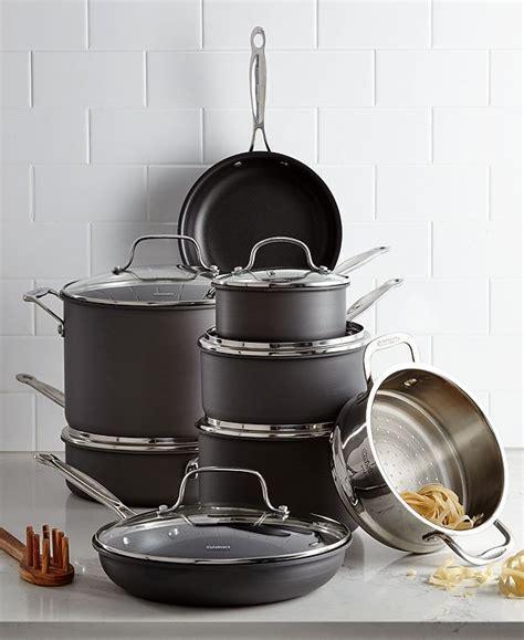 cuisinart chefs classic hard anodized  pc cookware set reviews cookware kitchen macys