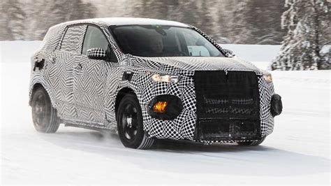 ford mustang inspired electric suv teased  official spy