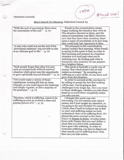 dialectical journal template dialectical exles of quotes quotesgram