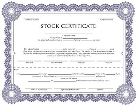 certificate  stock template corporate stock