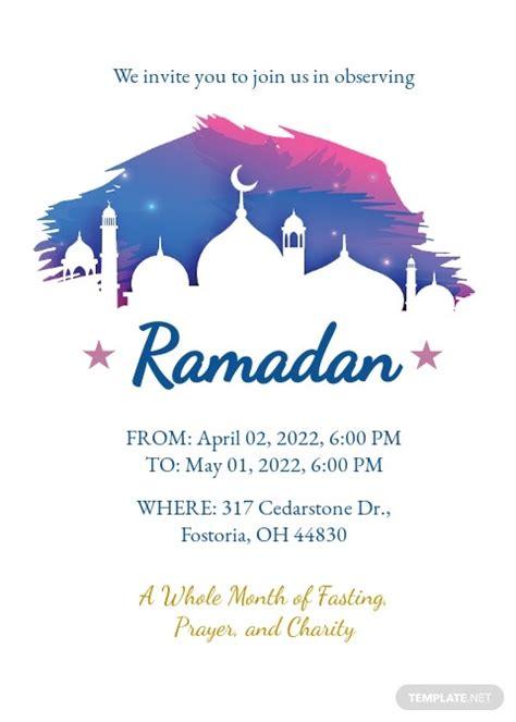 ramadan invitation template   word  psd