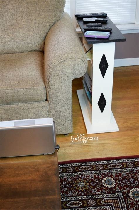 small sofa side table custom build  repurposed life