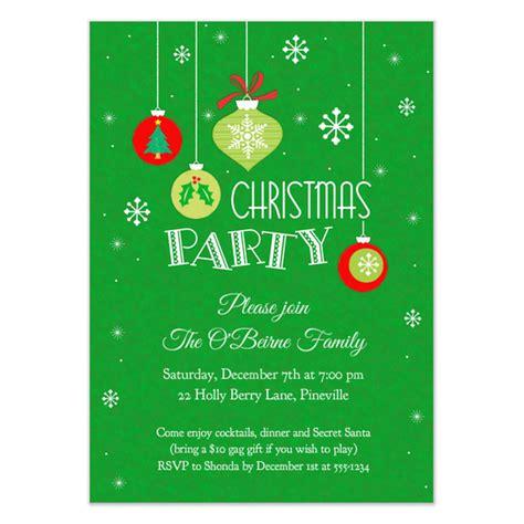 ornaments snowflakes christmas party invitation