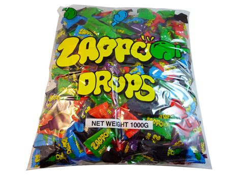 zappo drops candy bag 1kg extreme sour lolly warheads pieces display cart