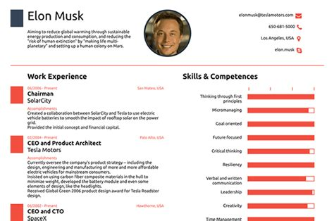elon musk resume template this resume for elon musk shows why you need only one page the science explorer