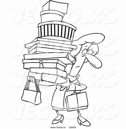 Shopping Cartoon Coloring Carrying Woman Packages Outlined