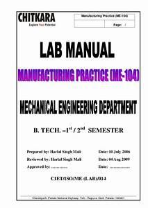 Manufacturing Practice - Lab Manual - B Tech