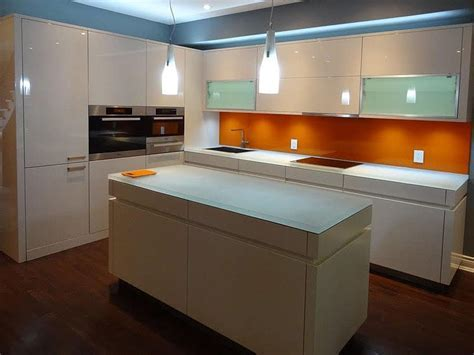 Glass Countertop Island with LED lighting designed by CGD