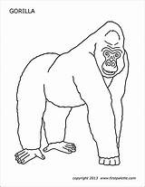 Gorilla Printable Coloring Pages Firstpalette Craft Templates Preschool Animal Animals Printables Wild Jungle Crafts Colored Learning sketch template