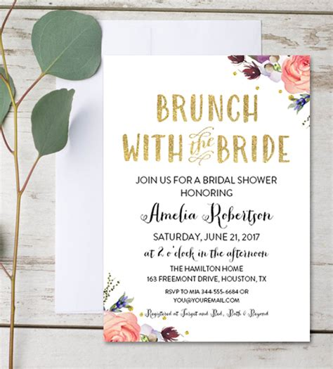 Free Editable Bridal Shower Invitation Brunch With the
