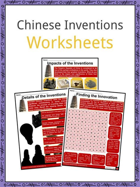 chinese inventions facts worksheets introduction  kids