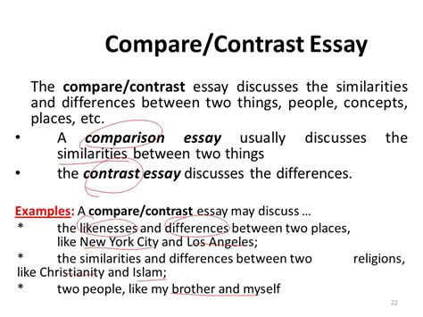 The Paper About Comparison And Contrast by Comparison And Contrast Essay Powerpoint