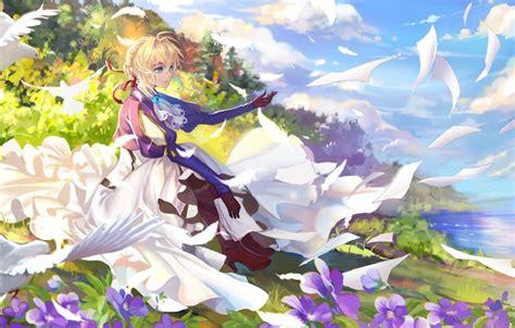 Wallpaper girl, blonde, letters, Violet Evergarden images
