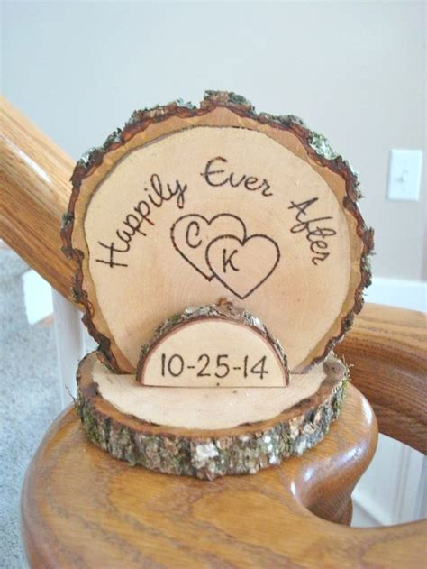 Wedding Cake Topper Rustic Wood Romantic Personalized Wood