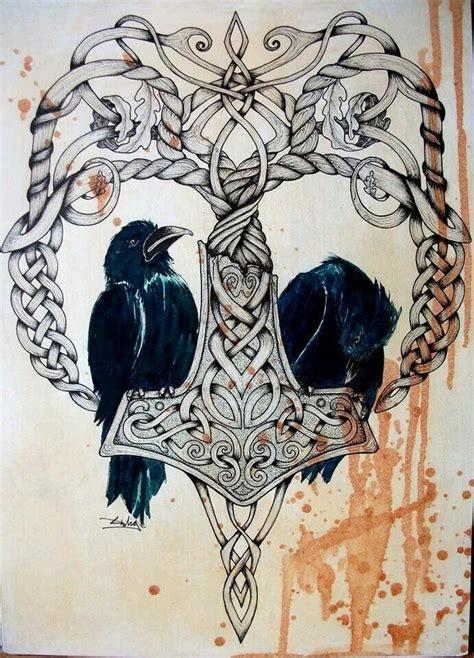 thors hammer  odins ravens  anthropomorphism