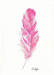 Pink Watercolor Feather Painting, original artwork, 9x12