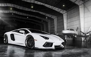 Aventador Lamborghini White Car Hangar HD Wallpaper