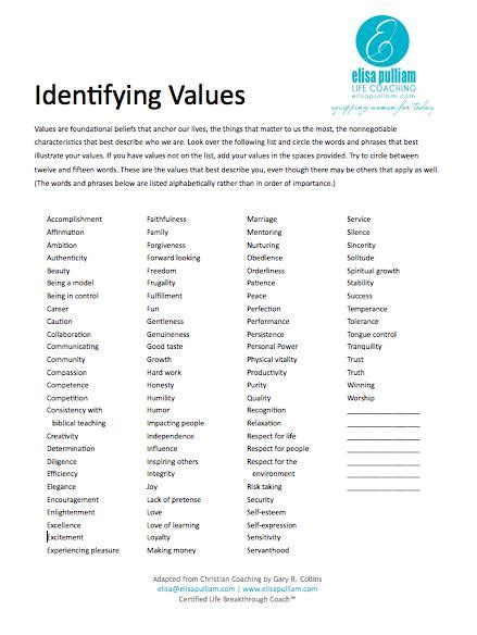 shop    personal core values life coaching worksheets core values
