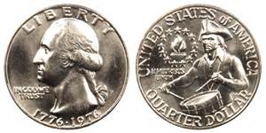1976 d washington quarters bicentennial design value and