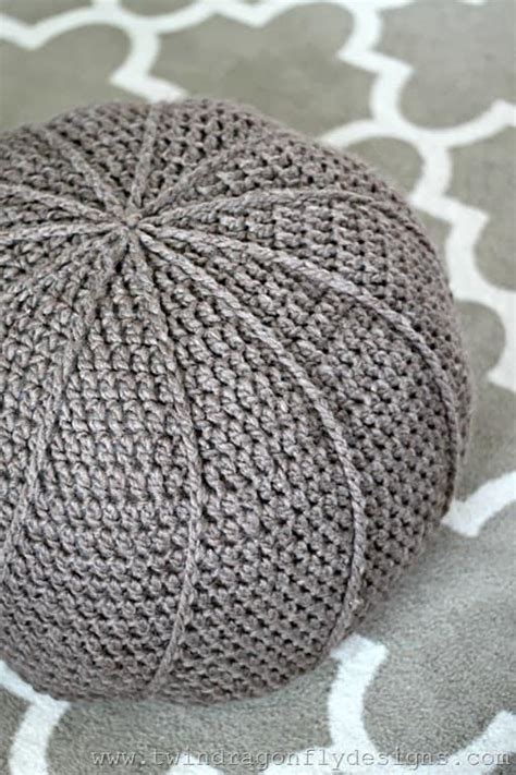 crochet floor pouf and ottoman free patterns the whoot