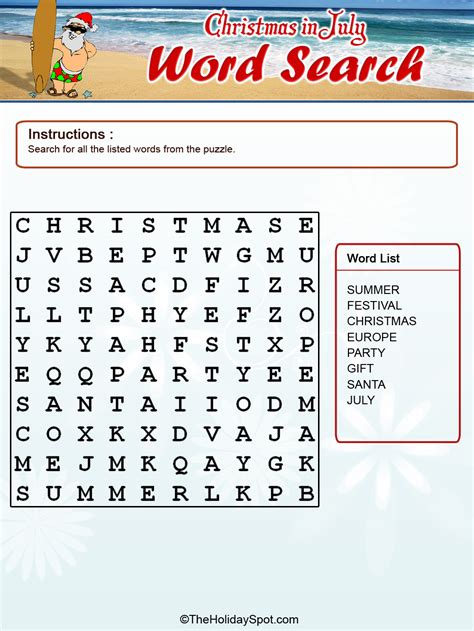 christmas  july color word search template