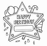 Coloring Birthday Happy Pages Template Colouring Templates Psd Balloons sketch template