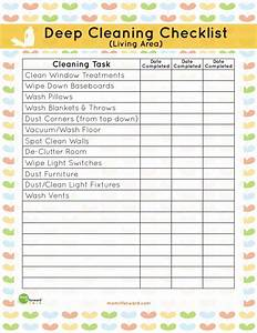 Chore Chart Checklist Printable Living Area Deep Cleaning Checklist It