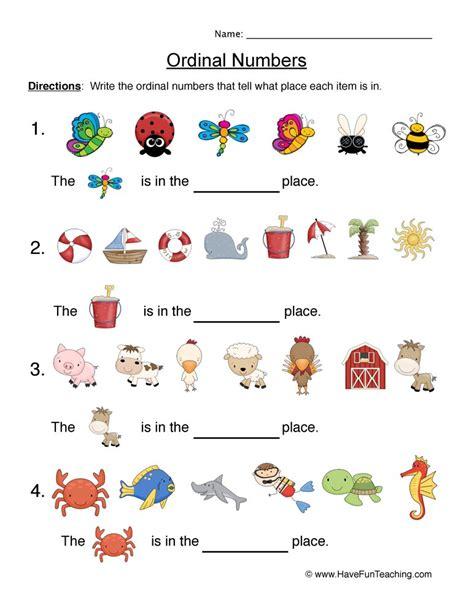 ordinal numbers worksheets teaching