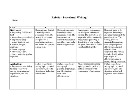 rubric procedural writing 5th grade writing and language