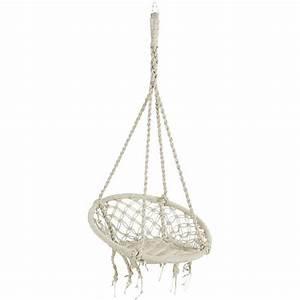 Fauteuil Suspendu Macramé : mobilier fauteuil suspendu coton blanc macram maison emilienne ~ Teatrodelosmanantiales.com Idées de Décoration