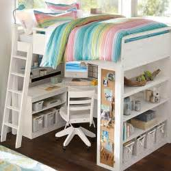 loft bed pbteen i like the corkboard on the end of the bookcase and a rolling chair