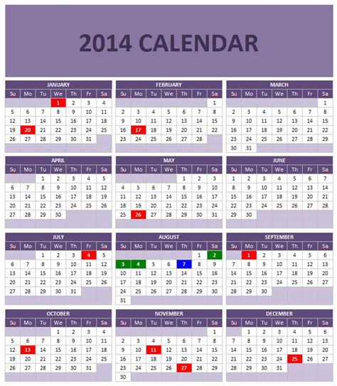 2014 Year Calendar Template by 2014 Calendar Templates Microsoft And Open Office Templates