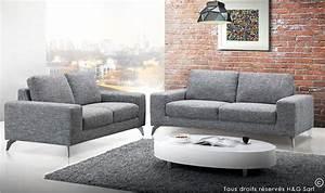 Canapé 3 Places Gris : canape 3 places en tissu gris clair canap tissu pas cher 3 places ~ Teatrodelosmanantiales.com Idées de Décoration