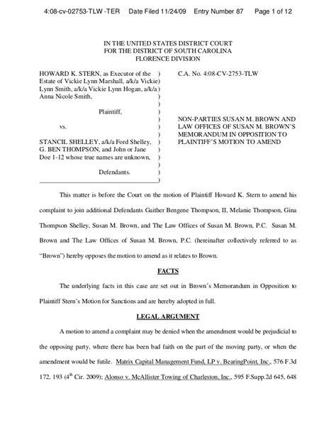brown opposition  plaintiff motion  amend complaint