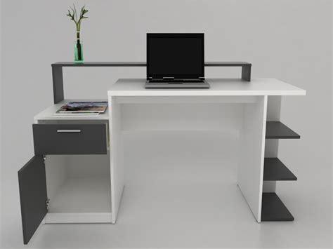 bureau blanc et gris bureau zacharie 1 tiroir 1 porte blanc gris