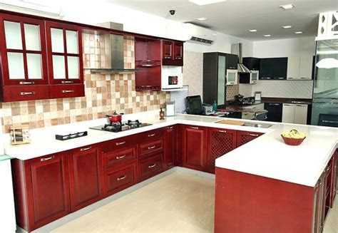 cloud 9 kitchen design u shaped kitchen with false ceiling and maroon cabinets by 5497